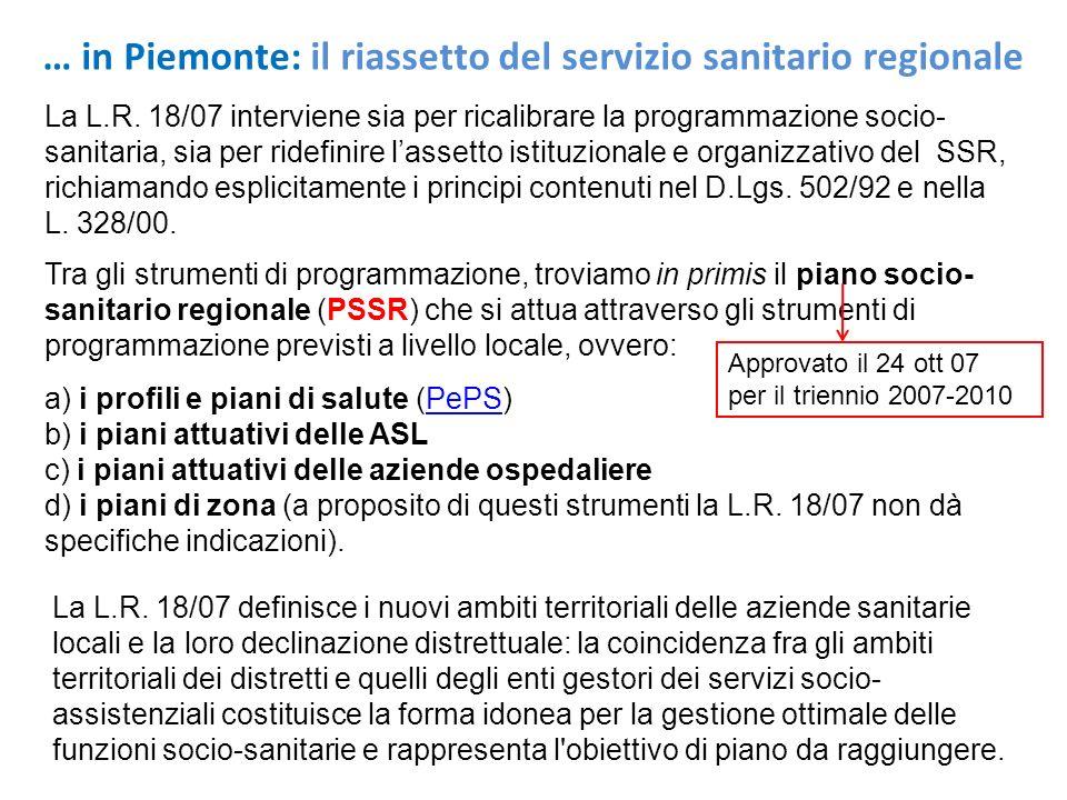 La L.R. 18/07 interviene sia per ricalibrare la programmazione socio- sanitaria, sia per ridefinire lassetto istituzionale e organizzativo del SSR, ri
