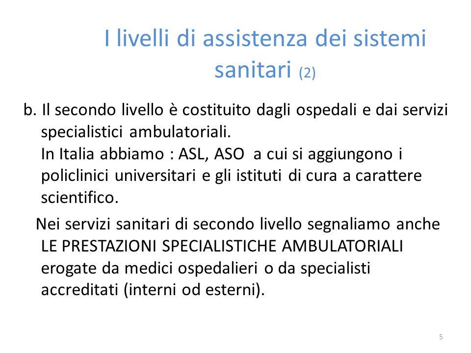 I livelli di assistenza dei sistemi sanitari (2) b. Il secondo livello è costituito dagli ospedali e dai servizi specialistici ambulatoriali. In Itali