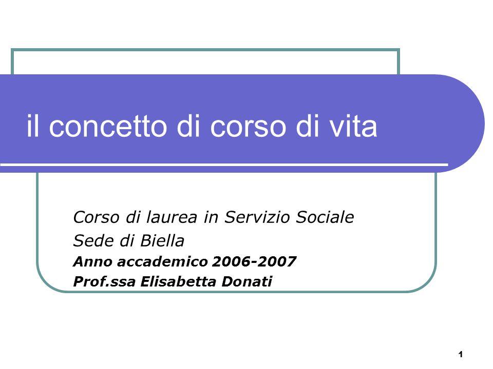 1 il concetto di corso di vita Corso di laurea in Servizio Sociale Sede di Biella Anno accademico 2006-2007 Prof.ssa Elisabetta Donati