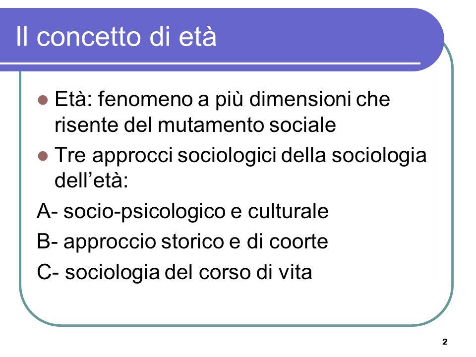 2 Il concetto di età Età: fenomeno a più dimensioni che risente del mutamento sociale Tre approcci sociologici della sociologia delletà: A- socio-psic
