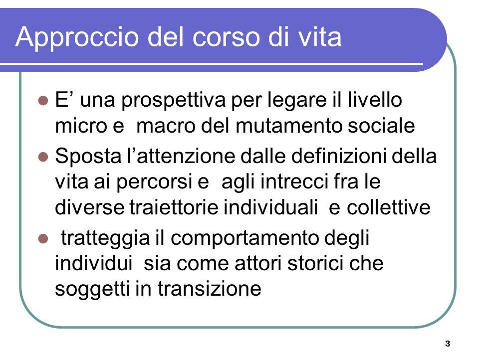 3 Approccio del corso di vita E una prospettiva per legare il livello micro e macro del mutamento sociale Sposta lattenzione dalle definizioni della v