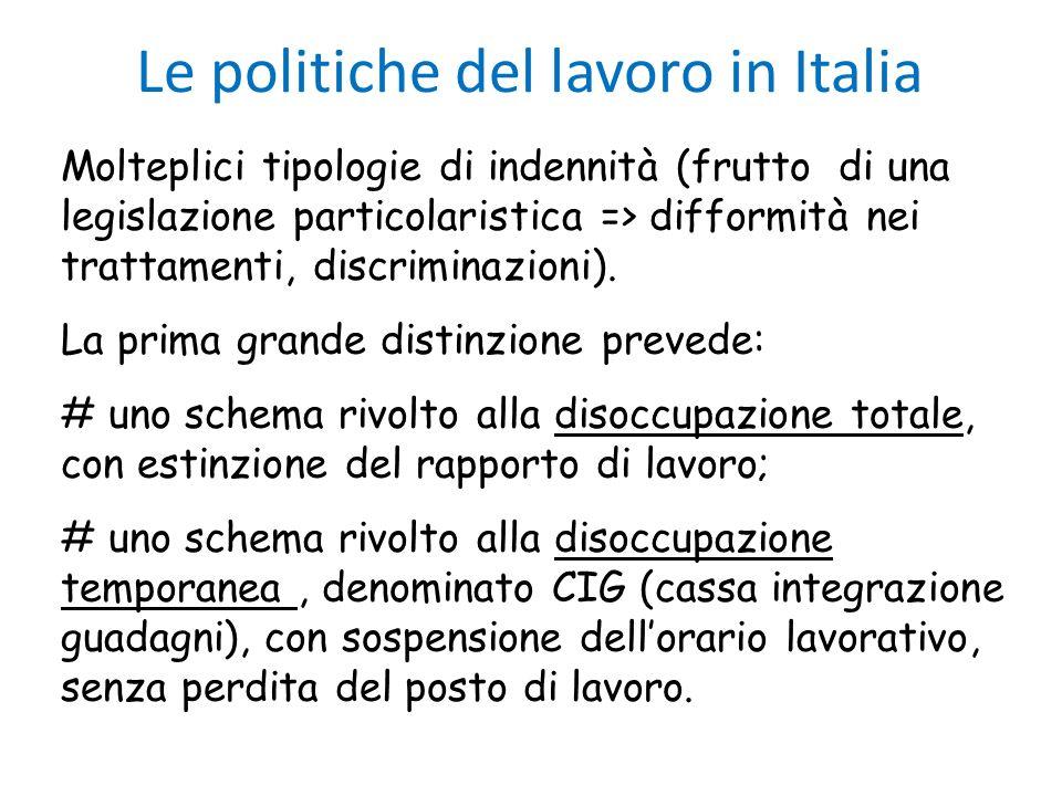 Le politiche del lavoro in Italia Molteplici tipologie di indennità (frutto di una legislazione particolaristica => difformità nei trattamenti, discri