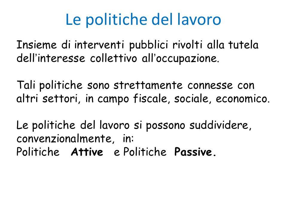 Le politiche del lavoro Insieme di interventi pubblici rivolti alla tutela dell interesse collettivo all occupazione. Tali politiche sono strettamente