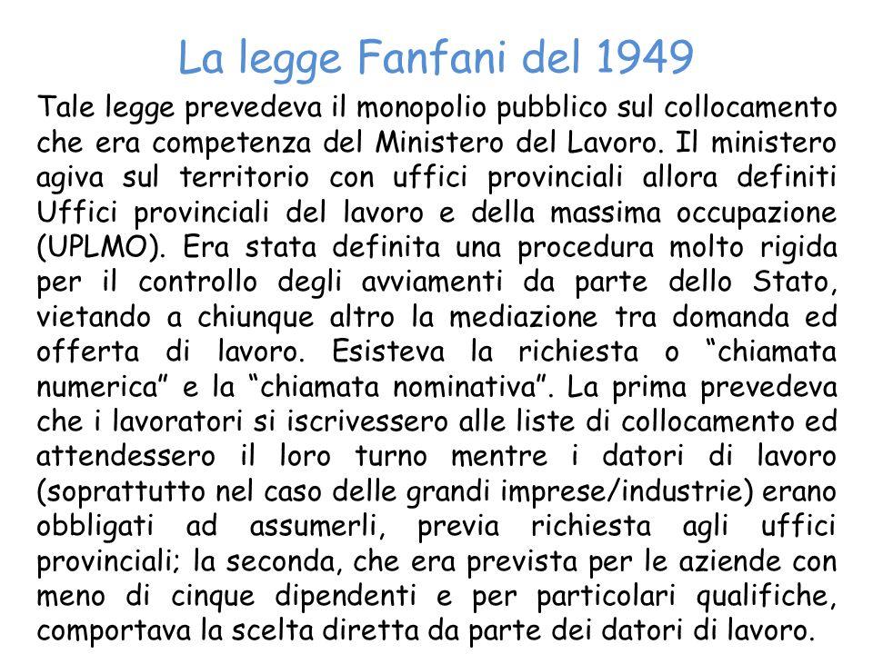 La legge Fanfani del 1949 Tale legge prevedeva il monopolio pubblico sul collocamento che era competenza del Ministero del Lavoro. Il ministero agiva