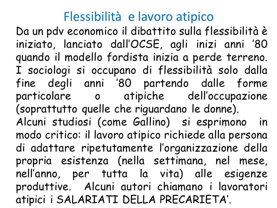 Flessibilità e lavoro atipico Da un pdv economico il dibattito sulla flessibilità è iniziato, lanciato dallOCSE, agli inizi anni 80 quando il modello