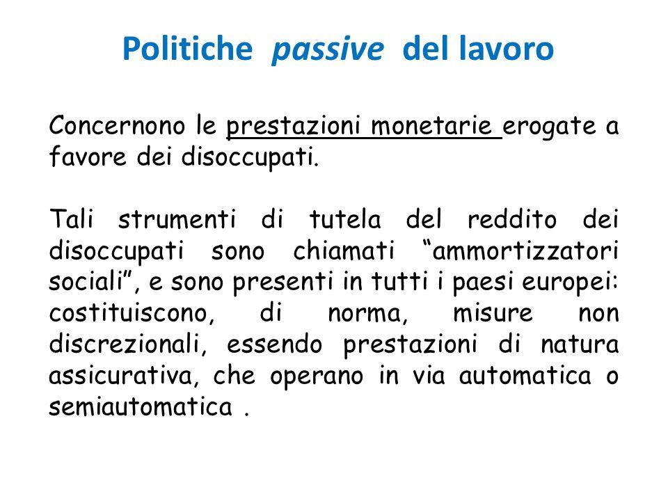 Politiche passive del lavoro Concernono le prestazioni monetarie erogate a favore dei disoccupati. Tali strumenti di tutela del reddito dei disoccupat