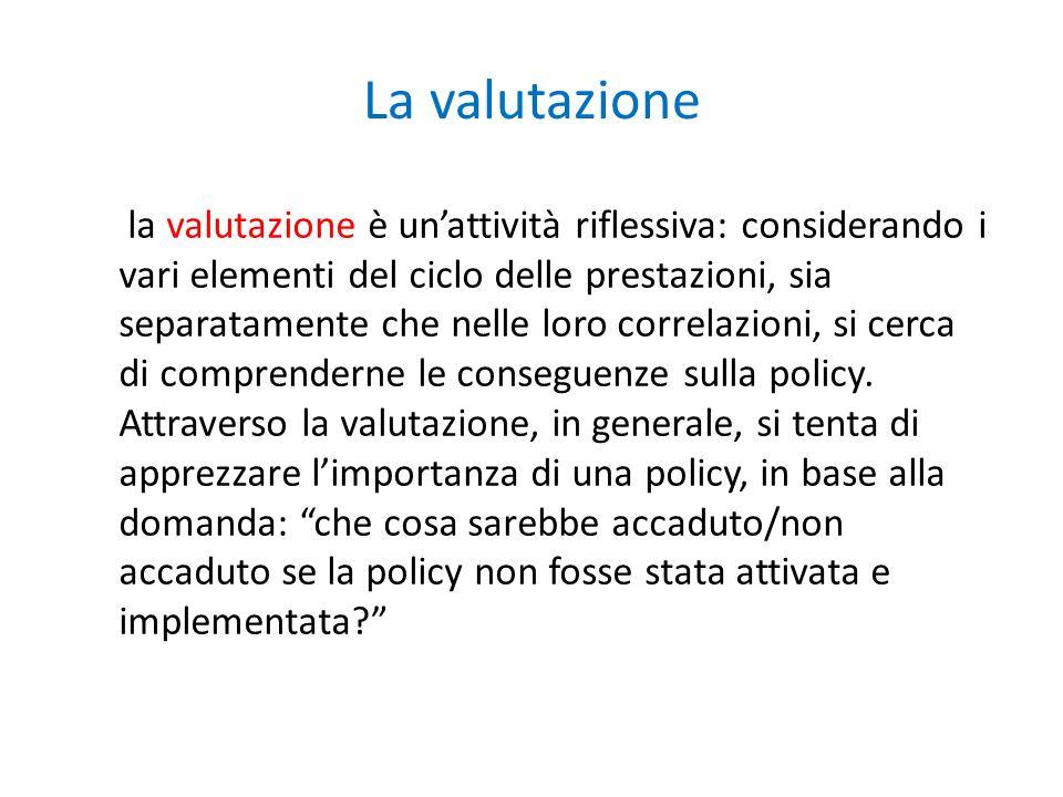 La valutazione la valutazione è unattività riflessiva: considerando i vari elementi del ciclo delle prestazioni, sia separatamente che nelle loro correlazioni, si cerca di comprenderne le conseguenze sulla policy.