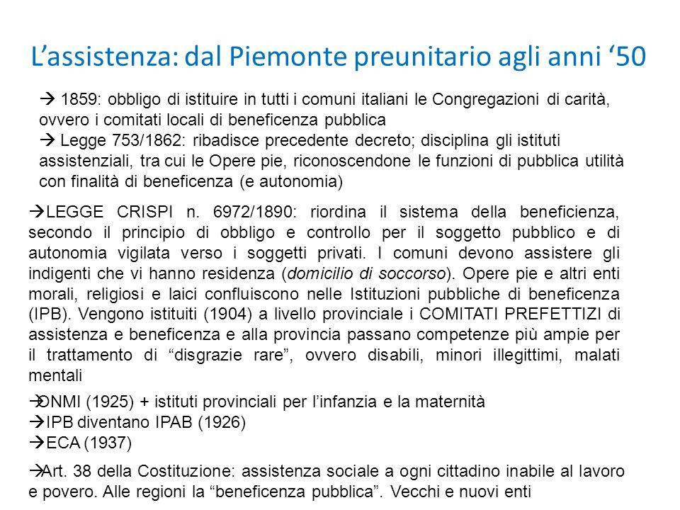Lassistenza: dal Piemonte preunitario agli anni 50 1859: obbligo di istituire in tutti i comuni italiani le Congregazioni di carità, ovvero i comitati