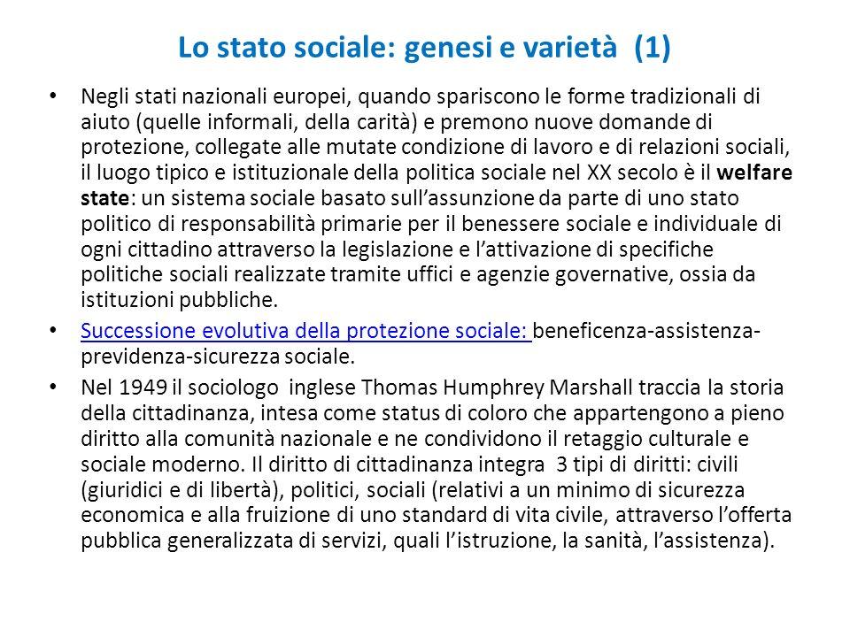 Lo stato sociale: genesi e varietà (1) Negli stati nazionali europei, quando spariscono le forme tradizionali di aiuto (quelle informali, della carità