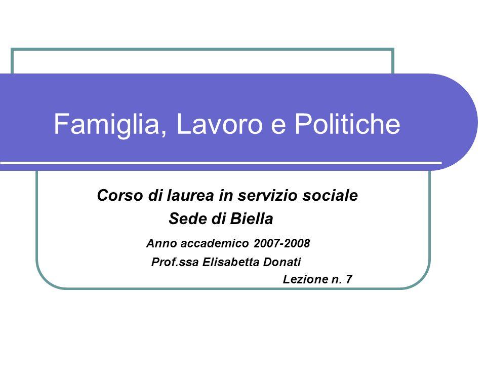 Famiglia, Lavoro e Politiche Corso di laurea in servizio sociale Sede di Biella Anno accademico 2007-2008 Prof.ssa Elisabetta Donati Lezione n. 7