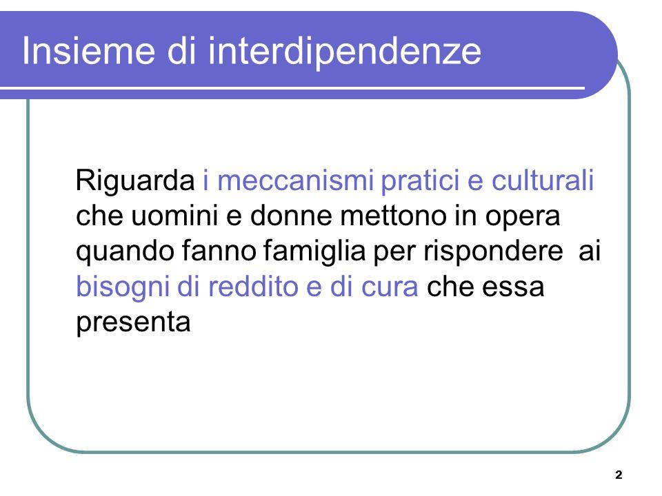 2 Insieme di interdipendenze Riguarda i meccanismi pratici e culturali che uomini e donne mettono in opera quando fanno famiglia per rispondere ai bis