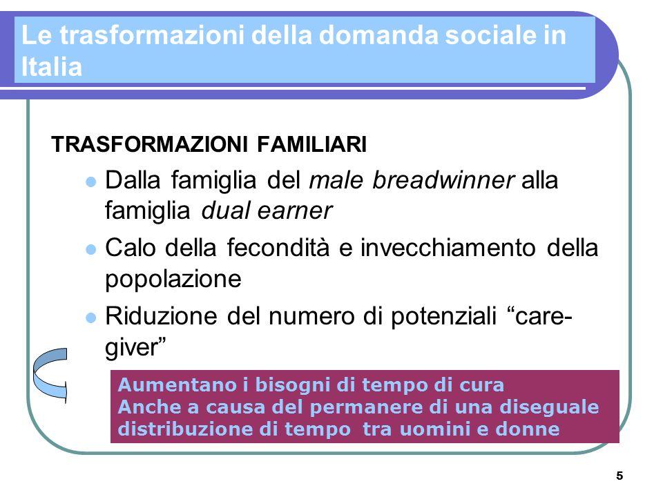 5 Le trasformazioni della domanda sociale in Italia TRASFORMAZIONI FAMILIARI Dalla famiglia del male breadwinner alla famiglia dual earner Calo della