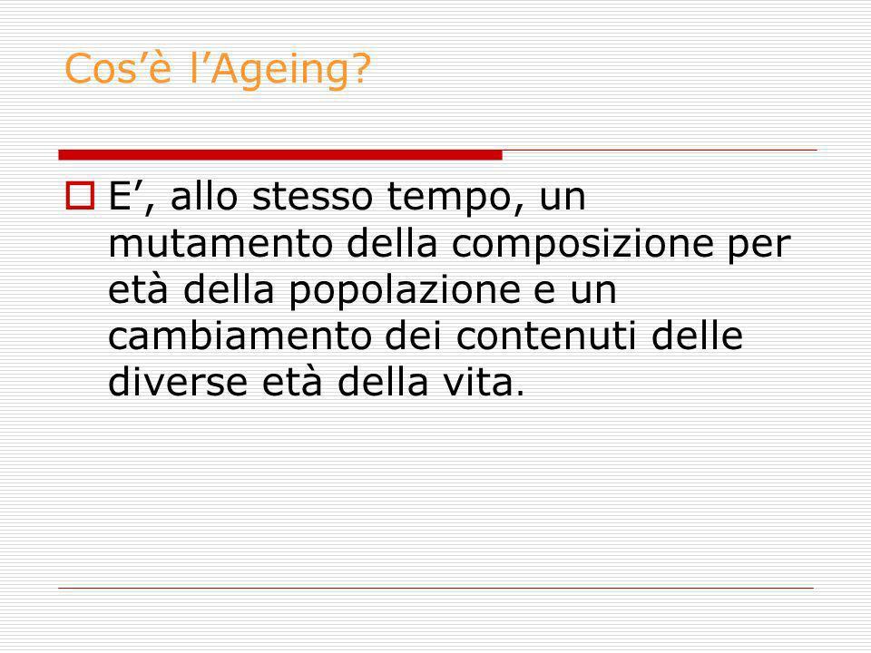 Cosè lAgeing? E, allo stesso tempo, un mutamento della composizione per età della popolazione e un cambiamento dei contenuti delle diverse età della v