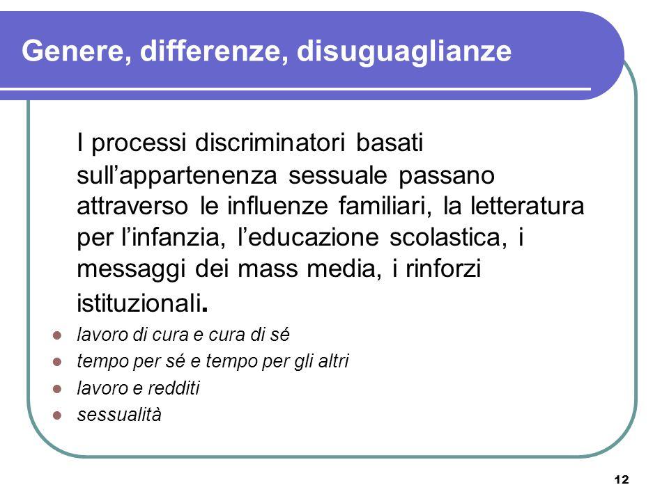 12 Genere, differenze, disuguaglianze I processi discriminatori basati sullappartenenza sessuale passano attraverso le influenze familiari, la lettera