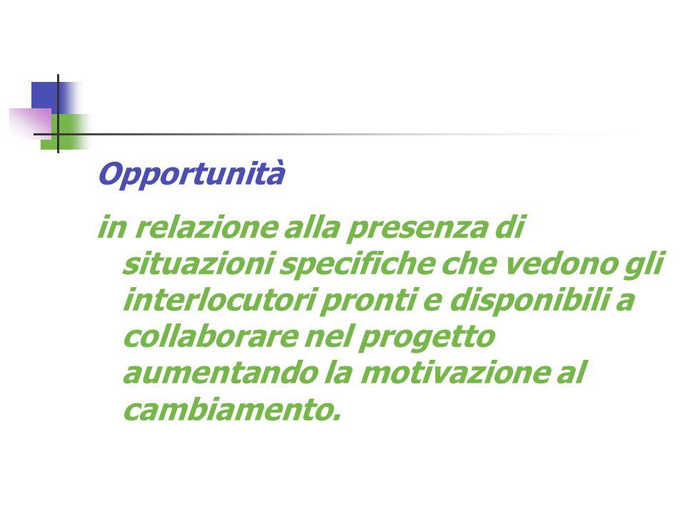 Opportunità in relazione alla presenza di situazioni specifiche che vedono gli interlocutori pronti e disponibili a collaborare nel progetto aumentand