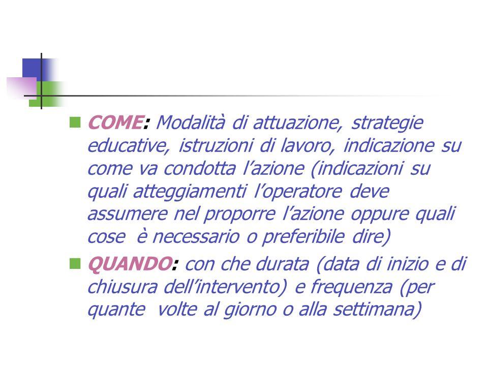 COME: Modalità di attuazione, strategie educative, istruzioni di lavoro, indicazione su come va condotta lazione (indicazioni su quali atteggiamenti l