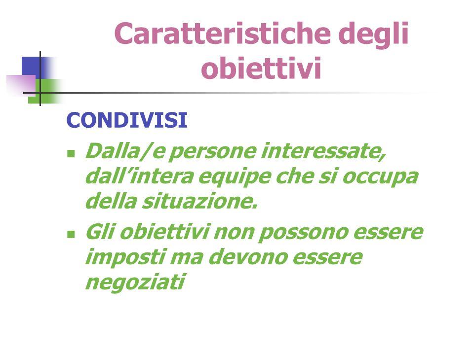 Caratteristiche degli obiettivi CONDIVISI Dalla/e persone interessate, dallintera equipe che si occupa della situazione. Gli obiettivi non possono ess