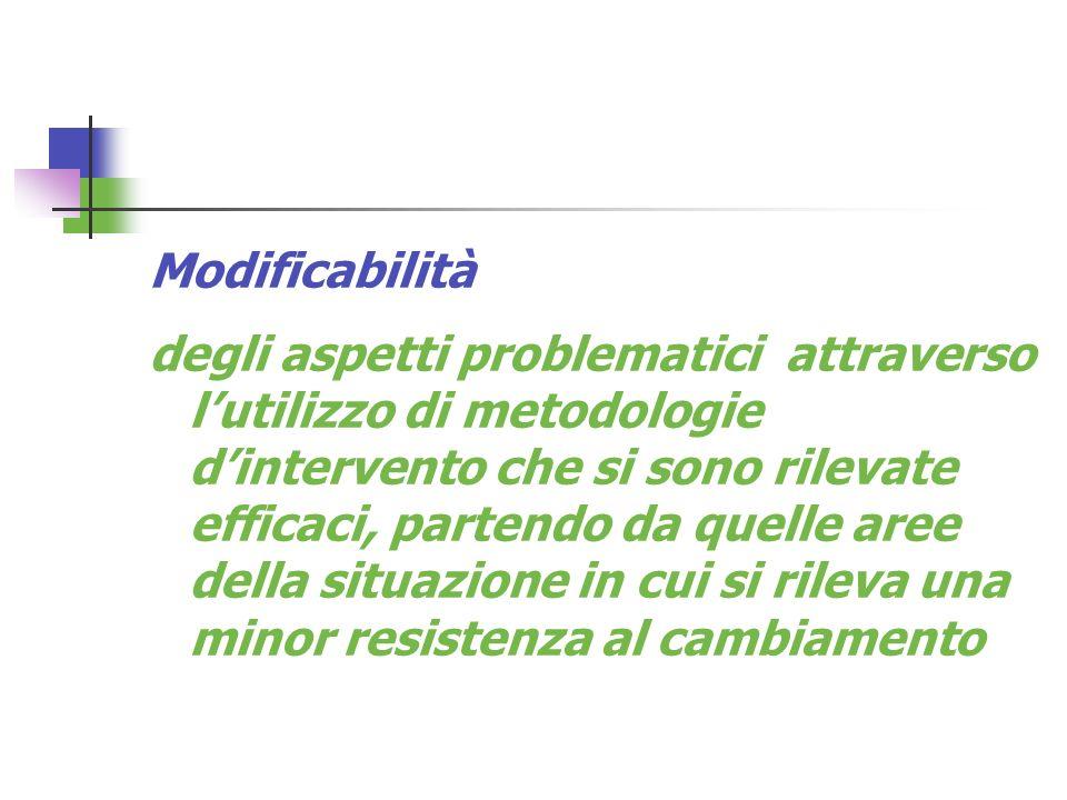 Modificabilità degli aspetti problematici attraverso lutilizzo di metodologie dintervento che si sono rilevate efficaci, partendo da quelle aree della