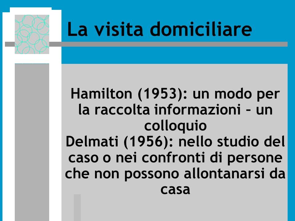 Hamilton (1953): un modo per la raccolta informazioni – un colloquio Delmati (1956): nello studio del caso o nei confronti di persone che non possono allontanarsi da casa La visita domiciliare