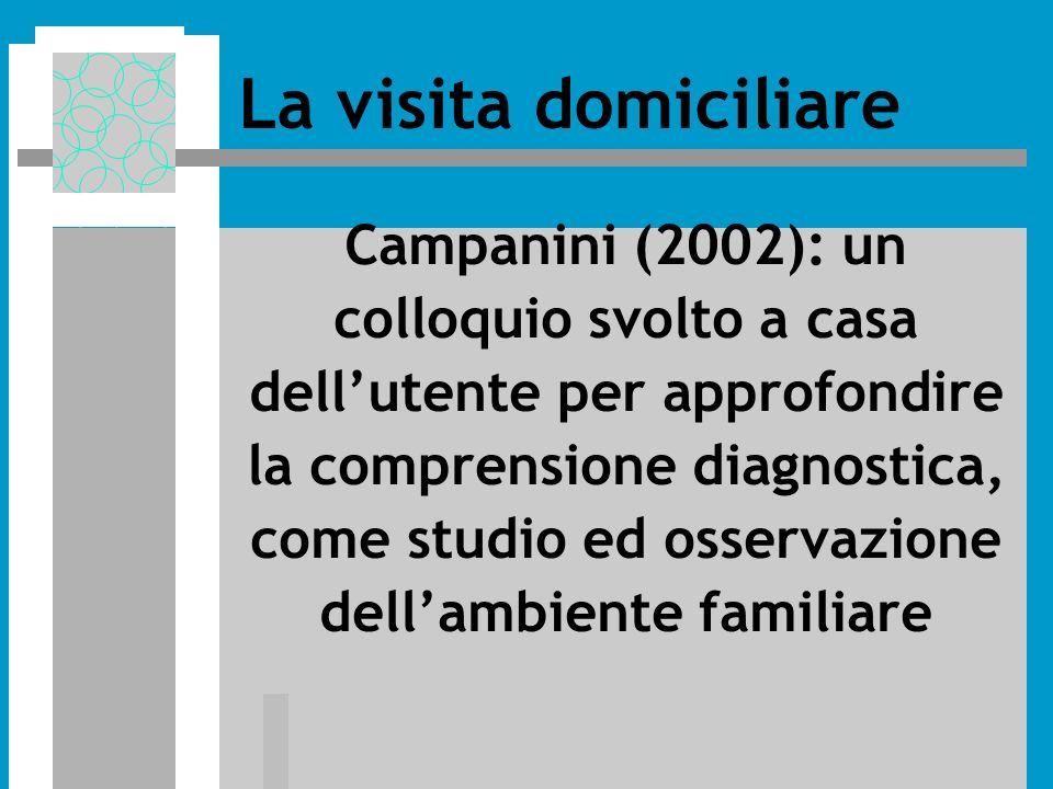 Campanini (2002): un colloquio svolto a casa dellutente per approfondire la comprensione diagnostica, come studio ed osservazione dellambiente familiare La visita domiciliare