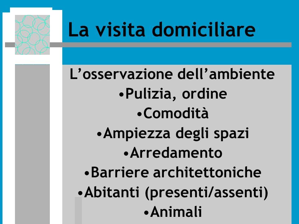 Losservazione dellambiente Pulizia, ordine Comodità Ampiezza degli spazi Arredamento Barriere architettoniche Abitanti (presenti/assenti) Animali La visita domiciliare