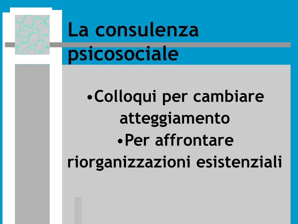 Colloqui per cambiare atteggiamento Per affrontare riorganizzazioni esistenziali La consulenza psicosociale