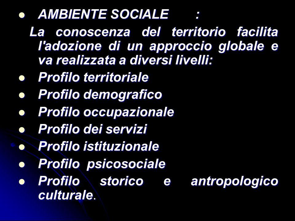 AMBIENTE SOCIALE: AMBIENTE SOCIALE: La conoscenza del territorio facilita l'adozione di un approccio globale e va realizzata a diversi livelli: La con