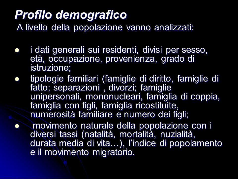 Profilo demografico A livello della popolazione vanno analizzati: A livello della popolazione vanno analizzati: i dati generali sui residenti, divisi