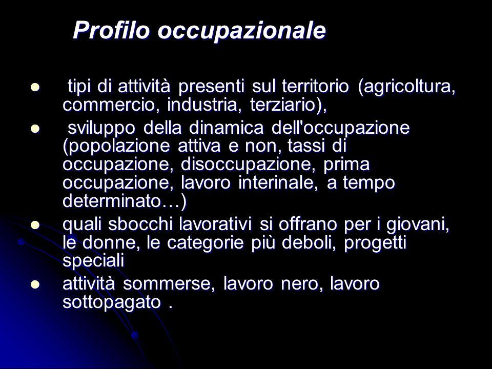 Profilo occupazionale Profilo occupazionale tipi di attività presenti sul territorio (agricoltura, commercio, industria, terziario), tipi di attività