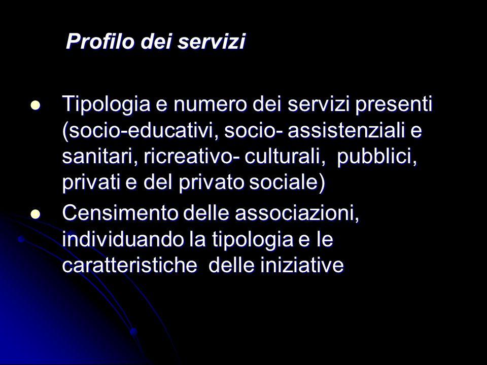 Profilo dei servizi Profilo dei servizi Tipologia e numero dei servizi presenti (socio-educativi, socio- assistenziali e sanitari, ricreativo- cultura