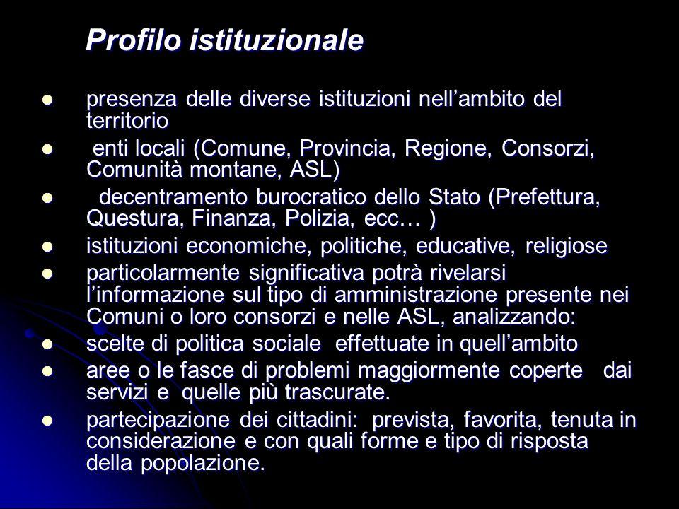 Profilo istituzionale Profilo istituzionale presenza delle diverse istituzioni nellambito del territorio presenza delle diverse istituzioni nellambito