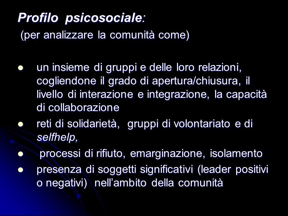 Profilo psicosociale: (per analizzare la comunità come) (per analizzare la comunità come) un insieme di gruppi e delle loro relazioni, cogliendone il