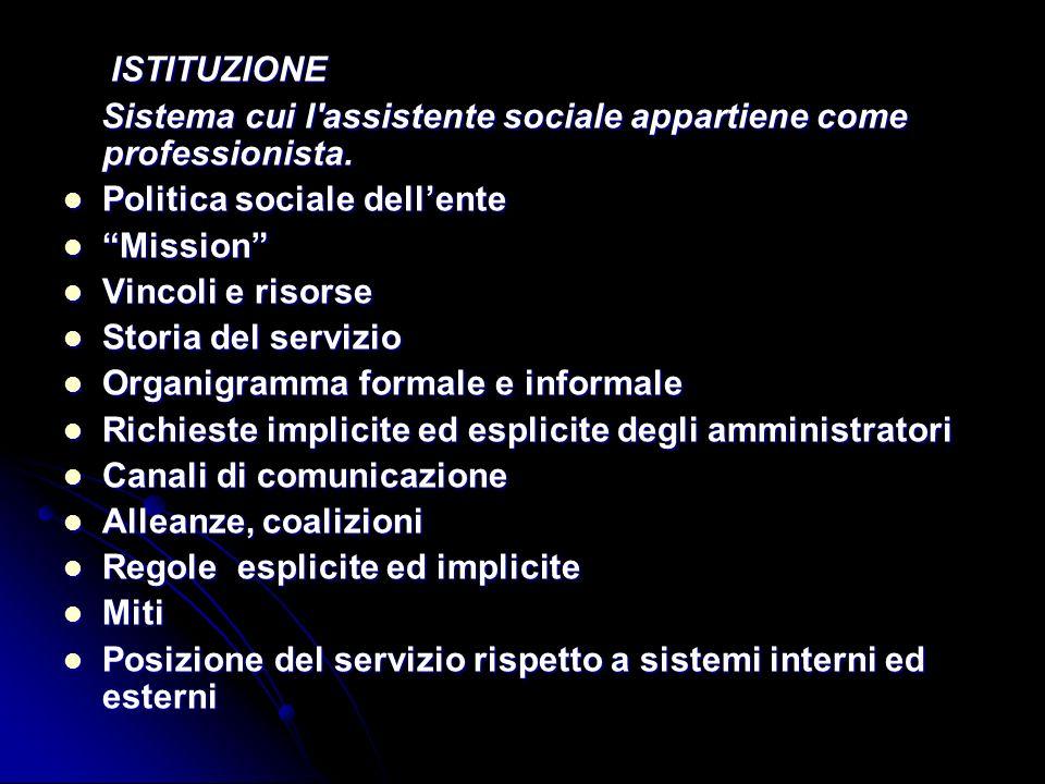 ISTITUZIONE ISTITUZIONE Sistema cui l'assistente sociale appartiene come professionista. Sistema cui l'assistente sociale appartiene come professionis
