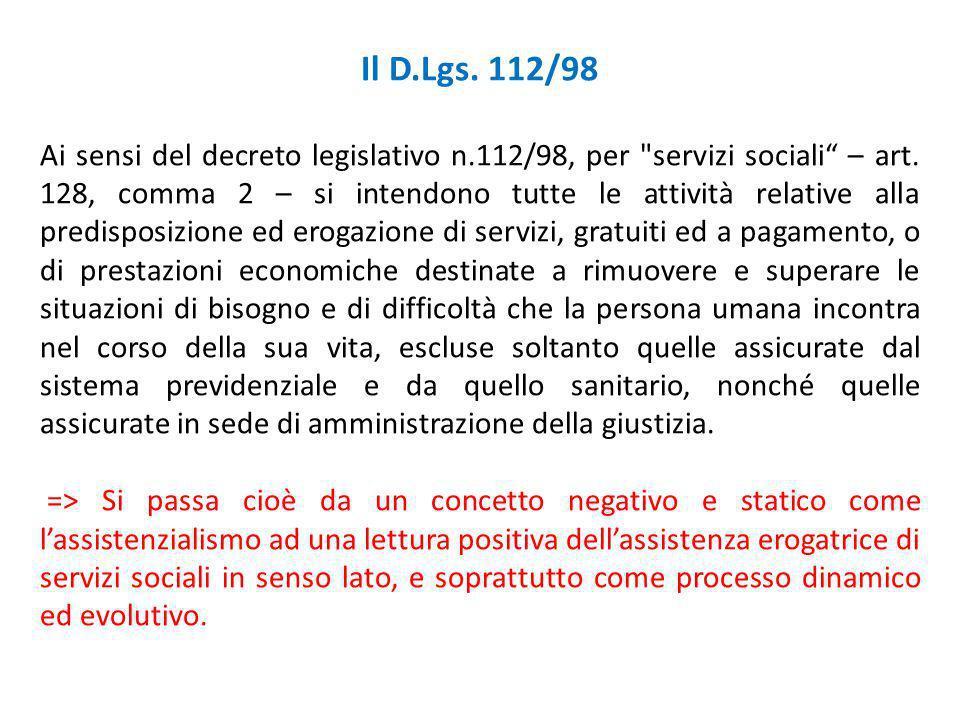 Il D.Lgs.112/98 Ai sensi del decreto legislativo n.112/98, per servizi sociali – art.