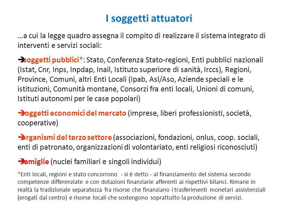 I soggetti attuatori …a cui la legge quadro assegna il compito di realizzare il sistema integrato di interventi e servizi sociali: soggetti pubblici*: