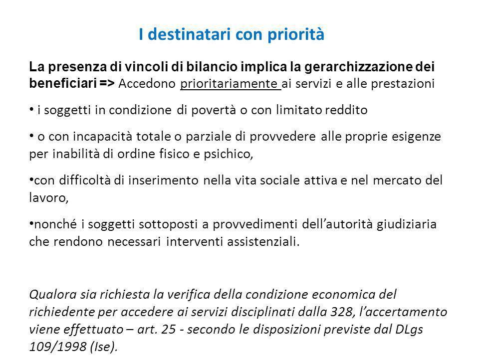 I destinatari con priorità La presenza di vincoli di bilancio implica la gerarchizzazione dei beneficiari => Accedono prioritariamente ai servizi e al