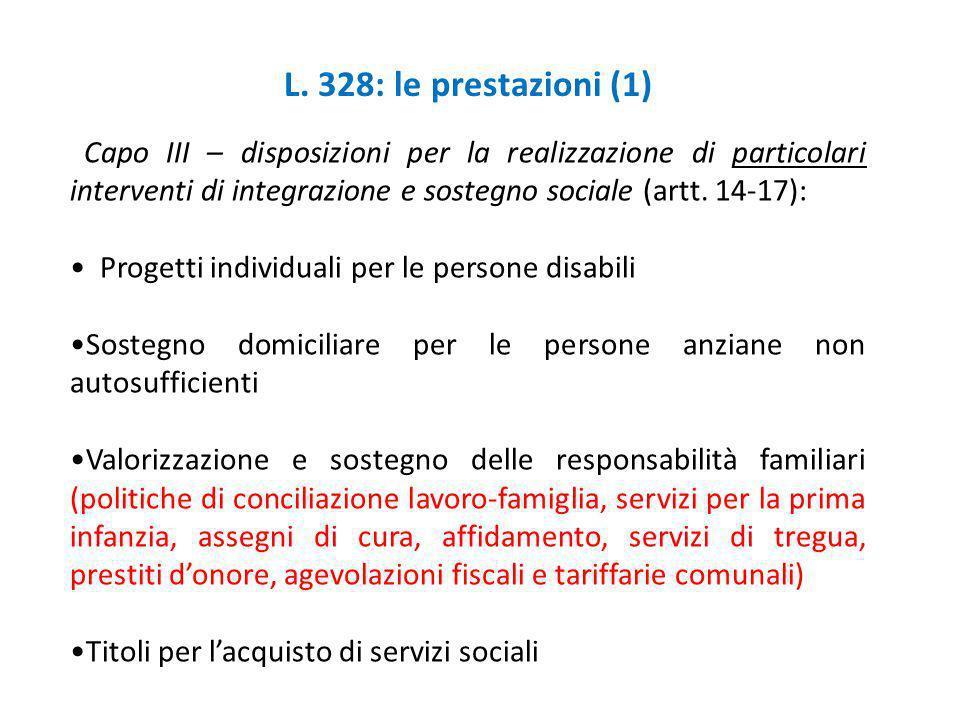 L. 328: le prestazioni (1) Capo III – disposizioni per la realizzazione di particolari interventi di integrazione e sostegno sociale (artt. 14-17): Pr