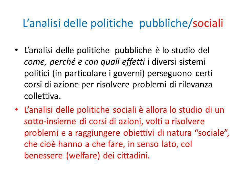 Lanalisi delle politiche pubbliche/sociali Lanalisi delle politiche pubbliche è lo studio del come, perché e con quali effetti i diversi sistemi polit