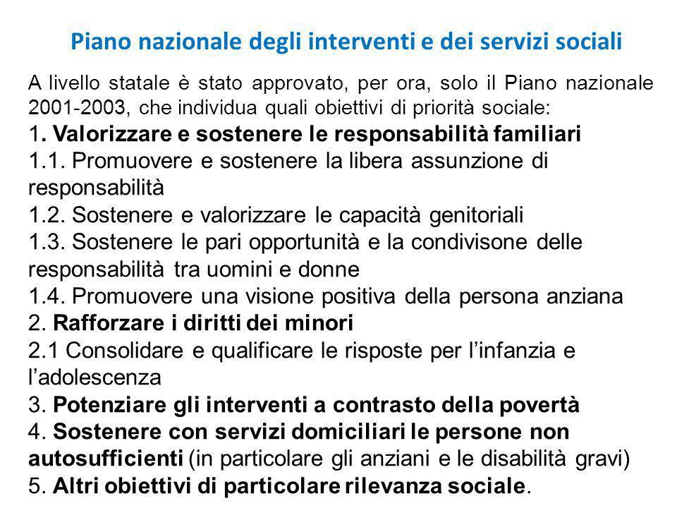 A livello statale è stato approvato, per ora, solo il Piano nazionale 2001-2003, che individua quali obiettivi di priorità sociale: 1.