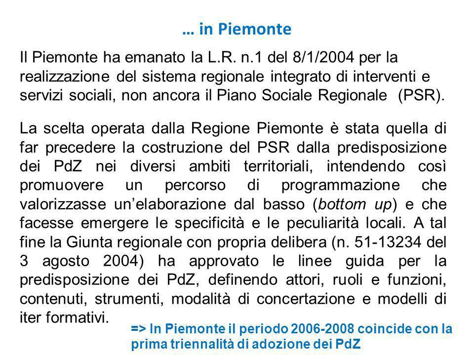 Il Piemonte ha emanato la L.R. n.1 del 8/1/2004 per la realizzazione del sistema regionale integrato di interventi e servizi sociali, non ancora il Pi