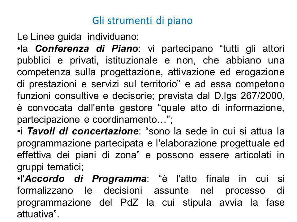 Gli strumenti di piano Le Linee guida individuano: la Conferenza di Piano: vi partecipano tutti gli attori pubblici e privati, istituzionale e non, ch