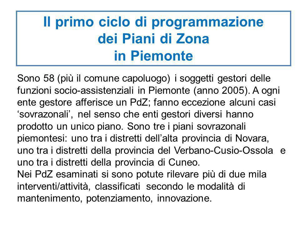 Il primo ciclo di programmazione dei Piani di Zona in Piemonte Sono 58 (più il comune capoluogo) i soggetti gestori delle funzioni socio-assistenziali in Piemonte (anno 2005).