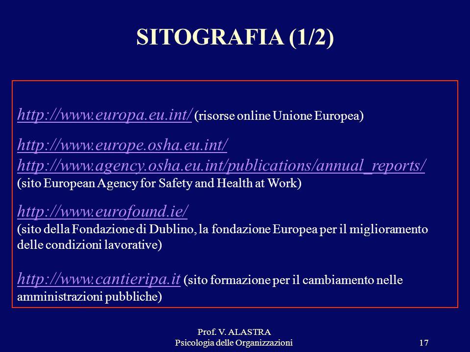 Prof. V. ALASTRA Psicologia delle Organizzazioni17 SITOGRAFIA (1/2) http://www.europa.eu.int/http://www.europa.eu.int/ (risorse online Unione Europea)