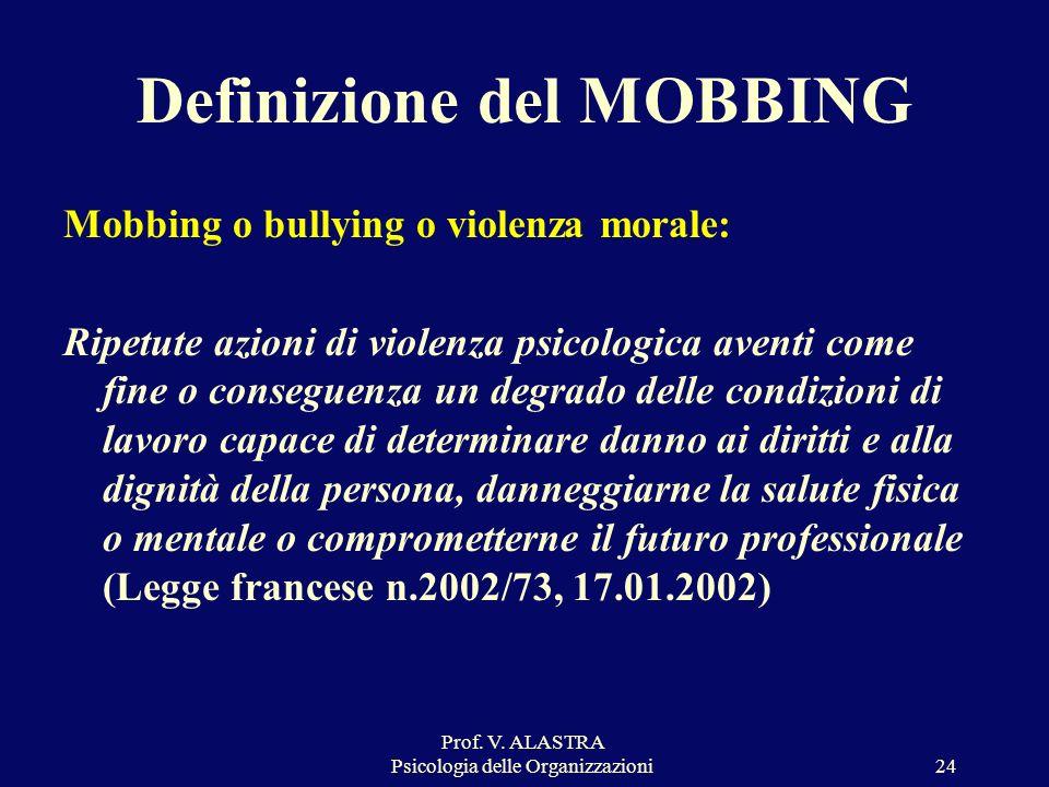 Prof. V. ALASTRA Psicologia delle Organizzazioni24 Mobbing o bullying o violenza morale: Ripetute azioni di violenza psicologica aventi come fine o co