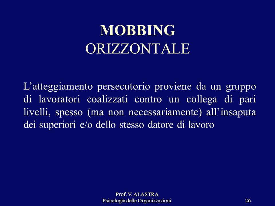 Prof. V. ALASTRA Psicologia delle Organizzazioni26 MOBBING ORIZZONTALE Latteggiamento persecutorio proviene da un gruppo di lavoratori coalizzati cont