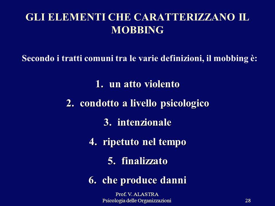 Prof. V. ALASTRA Psicologia delle Organizzazioni28 GLI ELEMENTI CHE CARATTERIZZANO IL MOBBING Secondo i tratti comuni tra le varie definizioni, il mob