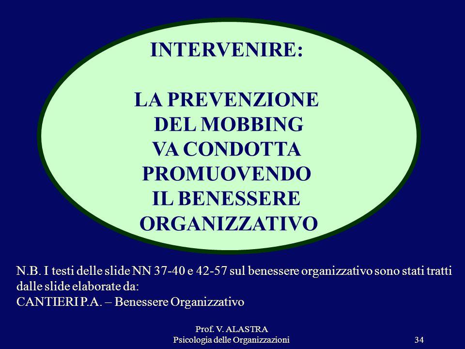 Prof. V. ALASTRA Psicologia delle Organizzazioni34 INTERVENIRE: LA PREVENZIONE DEL MOBBING VA CONDOTTA PROMUOVENDO IL BENESSERE ORGANIZZATIVO N.B. I t