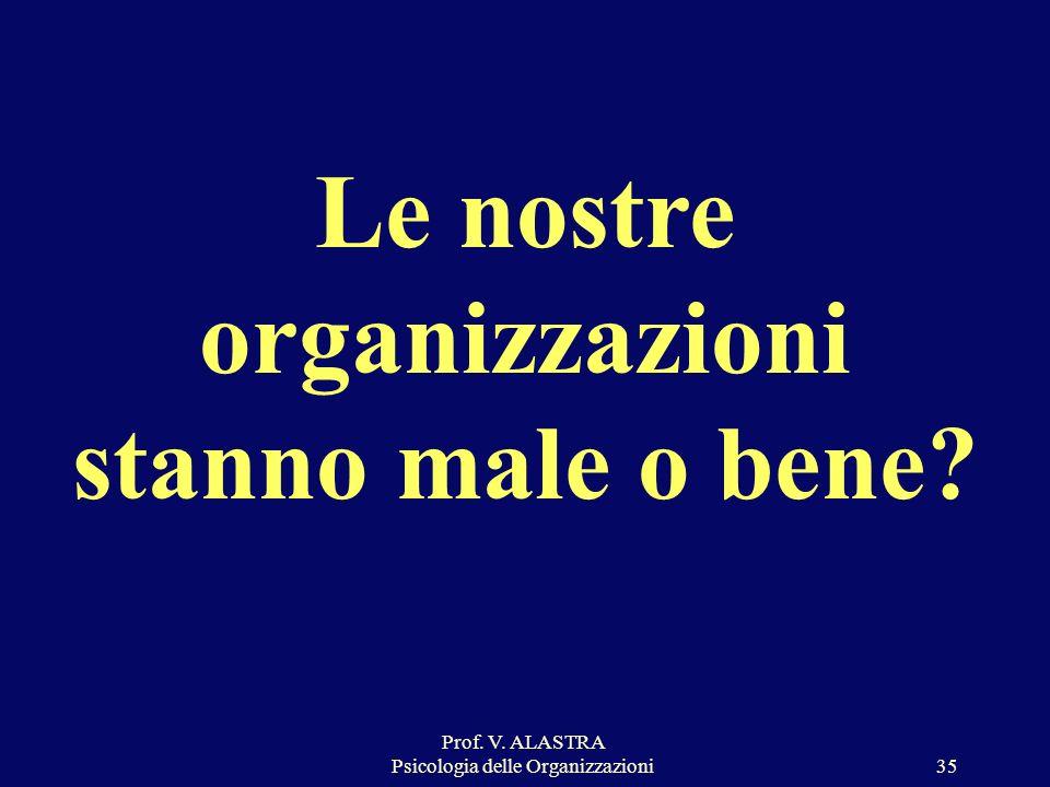 Prof. V. ALASTRA Psicologia delle Organizzazioni35 Le nostre organizzazioni stanno male o bene?