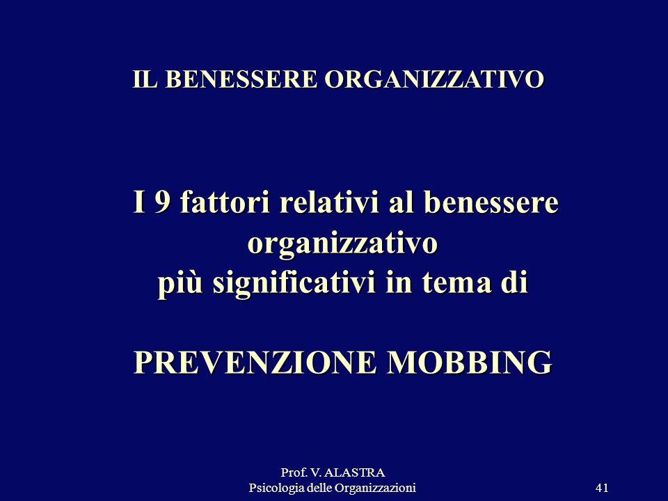 Prof. V. ALASTRA Psicologia delle Organizzazioni41 IL BENESSERE ORGANIZZATIVO I 9 fattori relativi al benessere organizzativo più significativi in tem
