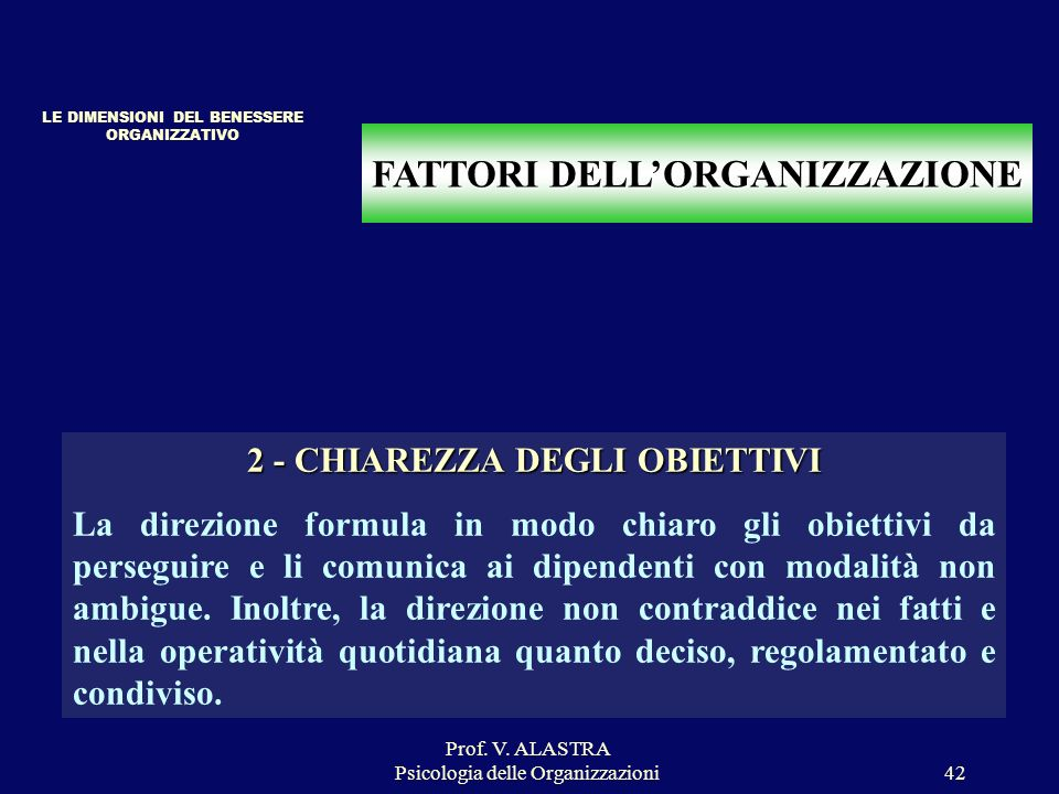 Prof. V. ALASTRA Psicologia delle Organizzazioni42 FATTORI DELLORGANIZZAZIONE 2 - CHIAREZZA DEGLI OBIETTIVI La direzione formula in modo chiaro gli ob